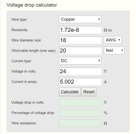 Online voltage drop calculator 2