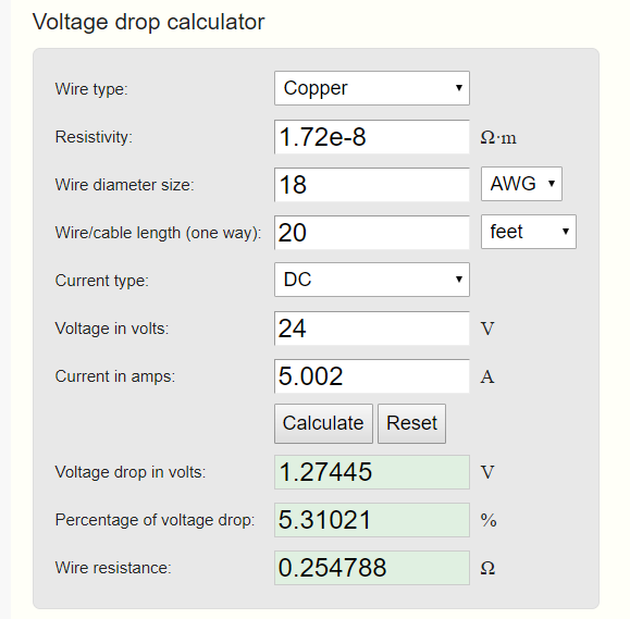 Online voltage drop calculator 3