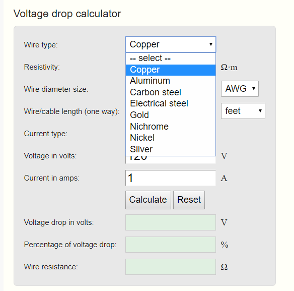 Online voltage drop calculator